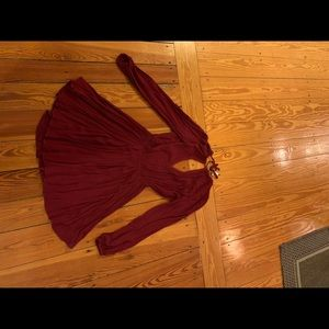 Free people red open back dress